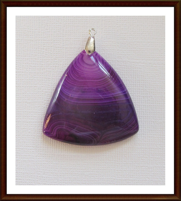 Banded Purple Agate Sterling Silver Pendant