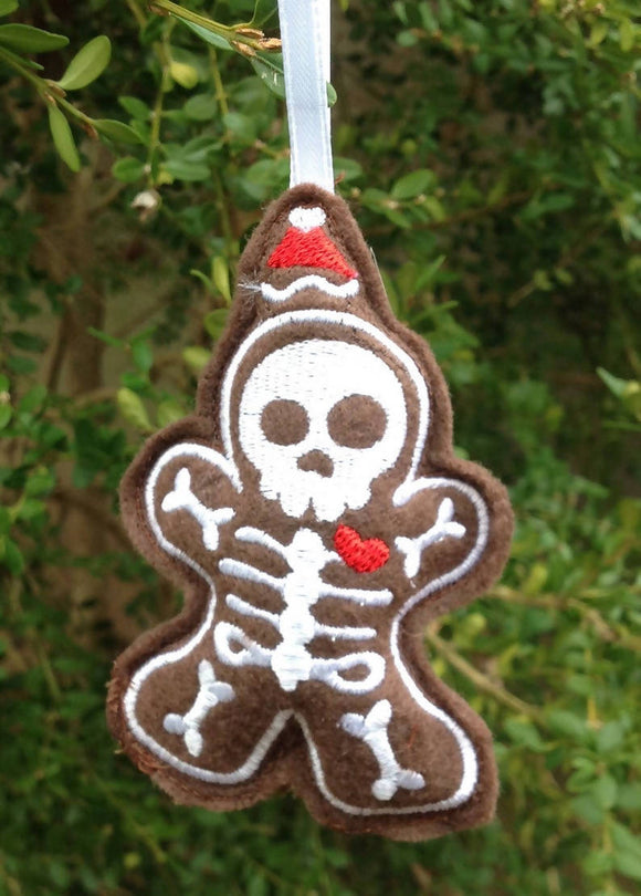 Embroidered Gingerbread Skeleton Ornament Stuffie