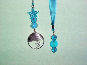 Blue bookmark with sea glass beads and silver pendant