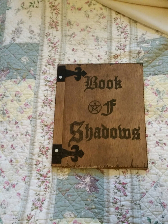 BOOK OF SHADOWS expandable wooden 12 x 11 inch book