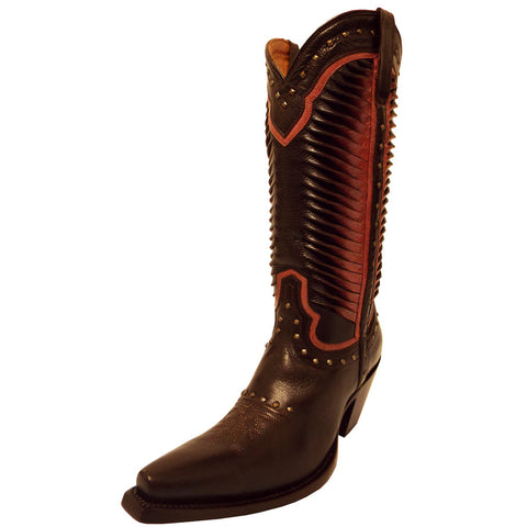 Ladies Lucchese M4874 Cheyenne Chocolate and Pink