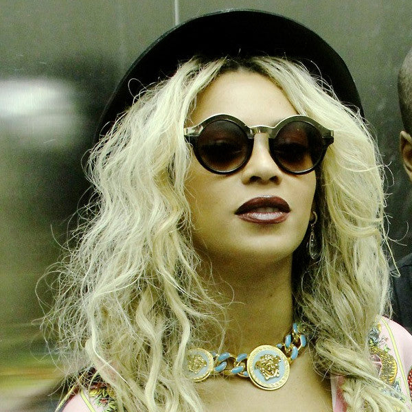 Beyonce Style Round Metal Accent Celebrity Sunglasses