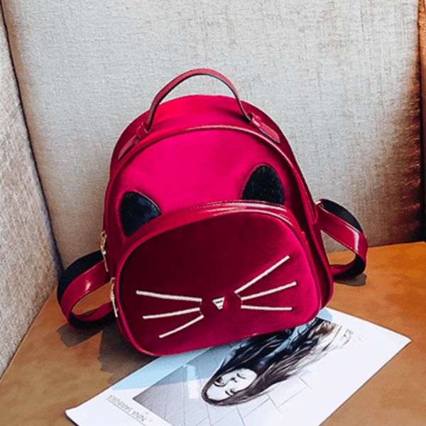 2018 Kawaii Cat Ear Backpack - Red