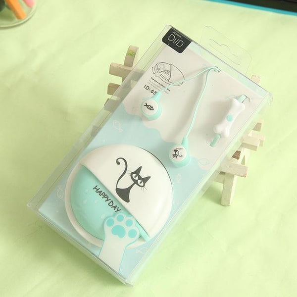 Cute Cat Macarons In-Ear Earphones - DeepSkyBlue