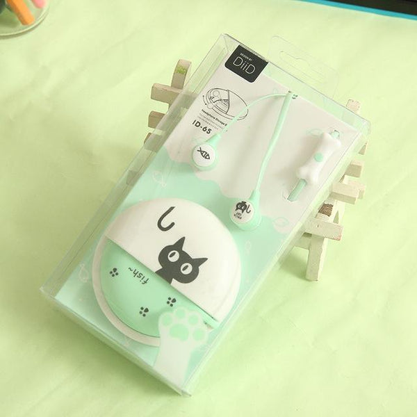 Cute Cat Macarons In-Ear Earphones - PaleGreen