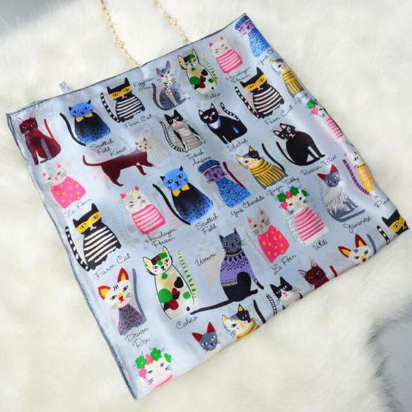 Luxury Cartoon Cat Satin Silk - Available in 6 Colors