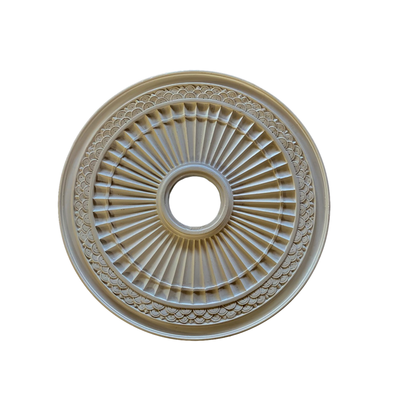 "Plaster Medallion Fluted 21-1/2"" x 7/8"" Relief - 4"" Hole"