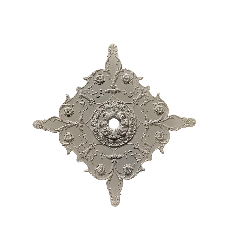 "Plaster Medallion 32"" x 38-1/2"" x 11/16"" With Ring 2"" Hole"