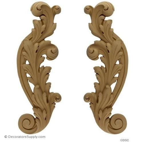 Leaf - Rococo - Louis XV Pr. 19 1/4H X 6 1/2W - 1 5/16Rel-ornaments-for-furniture-wooodwork-Decorators Supply