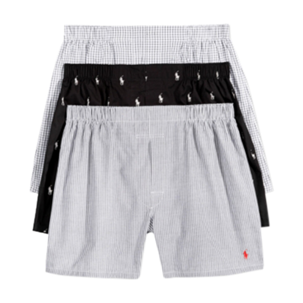Polo 3 Pack Woven Cotton Boxers Mens Style : Lcwbp3