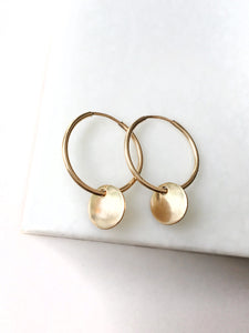 Small Gold Filled Endless Hoops with Disc Charms