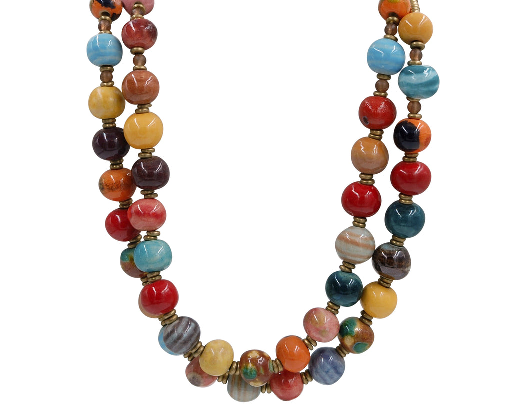Double Stranded ~ Multi Color ~ a littler larger bead