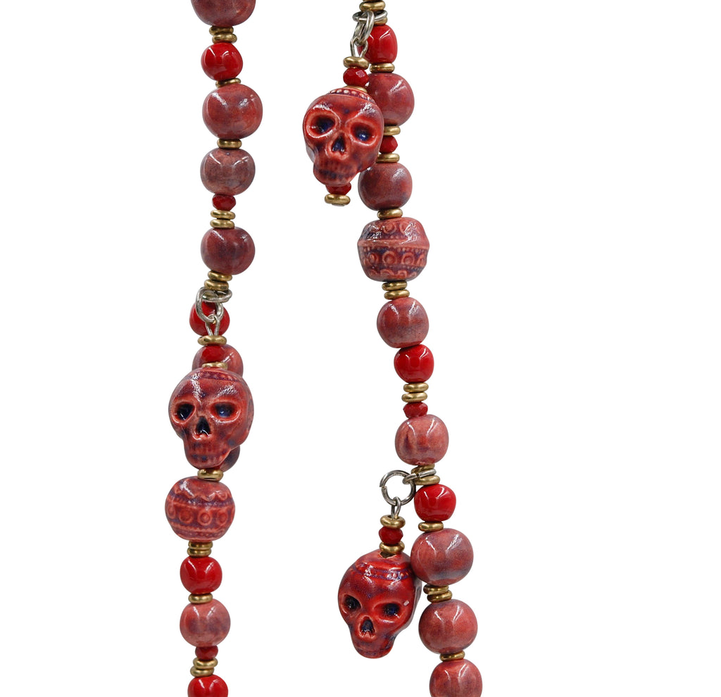 Skull ~ Long Hanging ~ Burgundy Matte