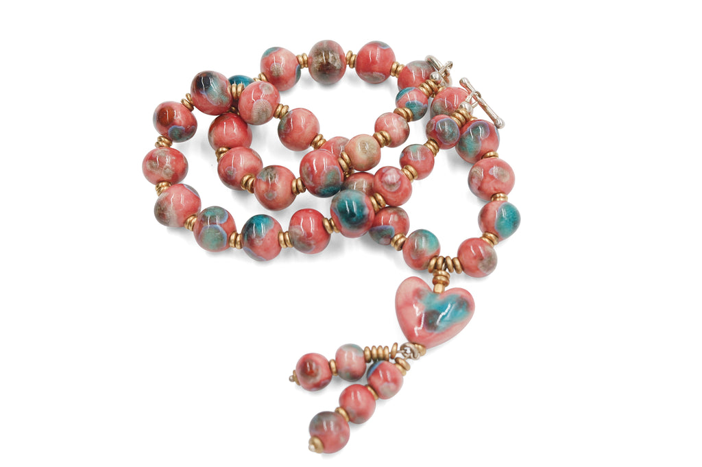 Heart Tassel in Pink with Crystal Sparks of Turquoise