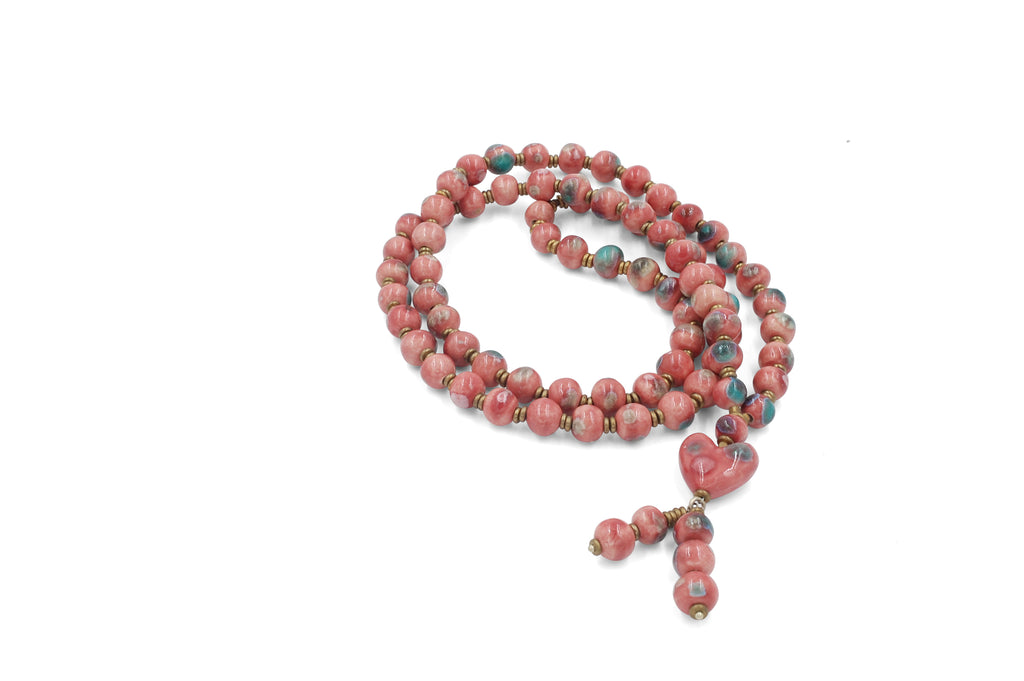 Long Pink Heart Tassel with Crystal Sparks of Turquoise