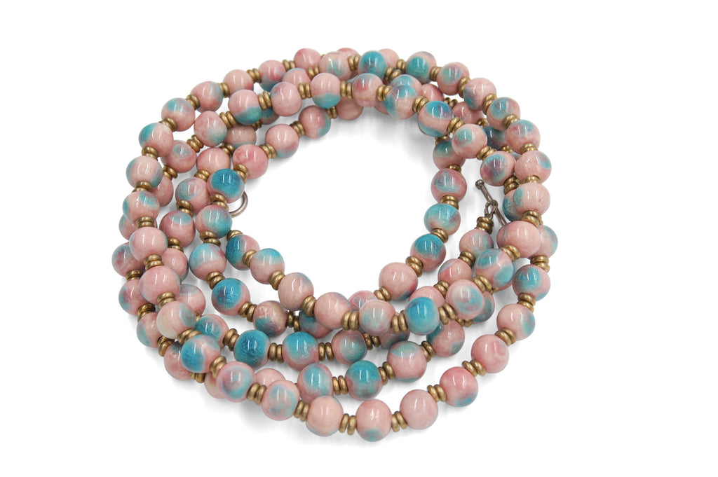 Mala in Pink with Crystal Turquoise
