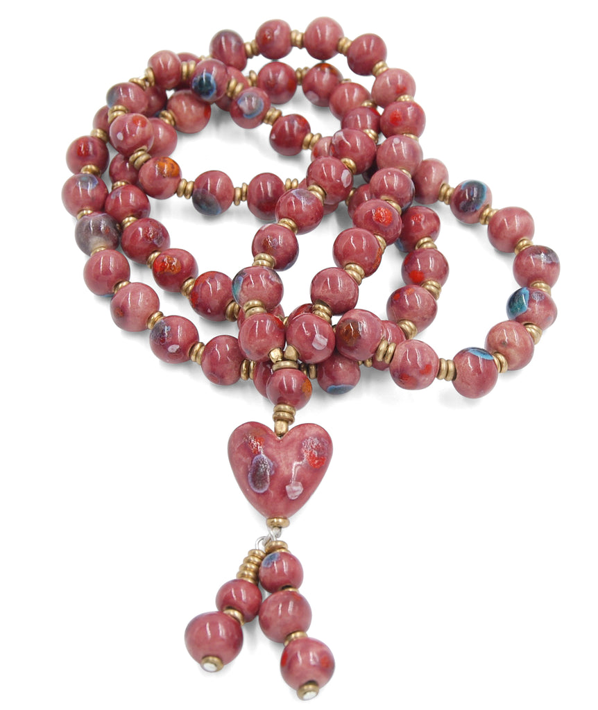 Long Raspberry Pink Heart Tassel with Crystal Sparks of Turquoise