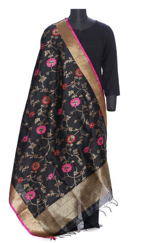 Pure dupion silk benarasi dupatta in black and gold with pink and red motifs