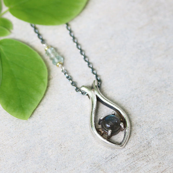 Silver fish shape necklace and cabochon labradorite at the center with aquamarine beads secondary on oxidized sterling silver chain/TP