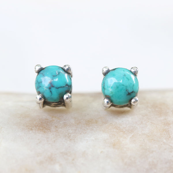 Sterling silver stud earrings with cabochon turquoise in prongs setting with sterling silver post and backing(FBA)