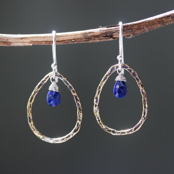 Lapis lazuli earrings and oxidized brass teardrop shape in hammer textured on sterling silver hook style(FBA)