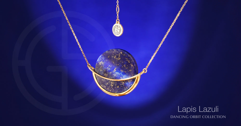 Lapis Lazuli gemstone in Dancing Orbit necklace by Gems In Style Jewellery