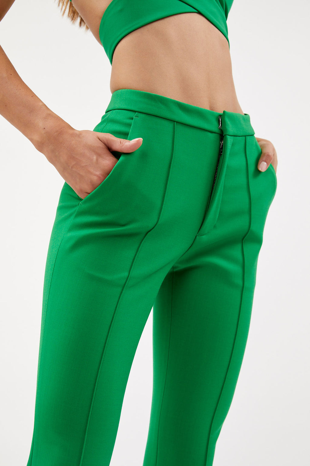 Green Flare Trousers