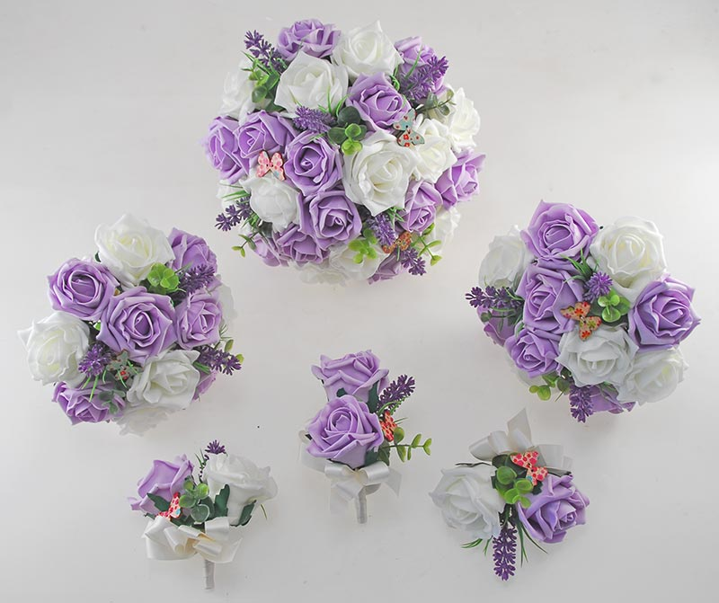 Wedding Flowers Lilac: Lilac, Ivory Rose Butterfly And Lavender Wedding Flower
