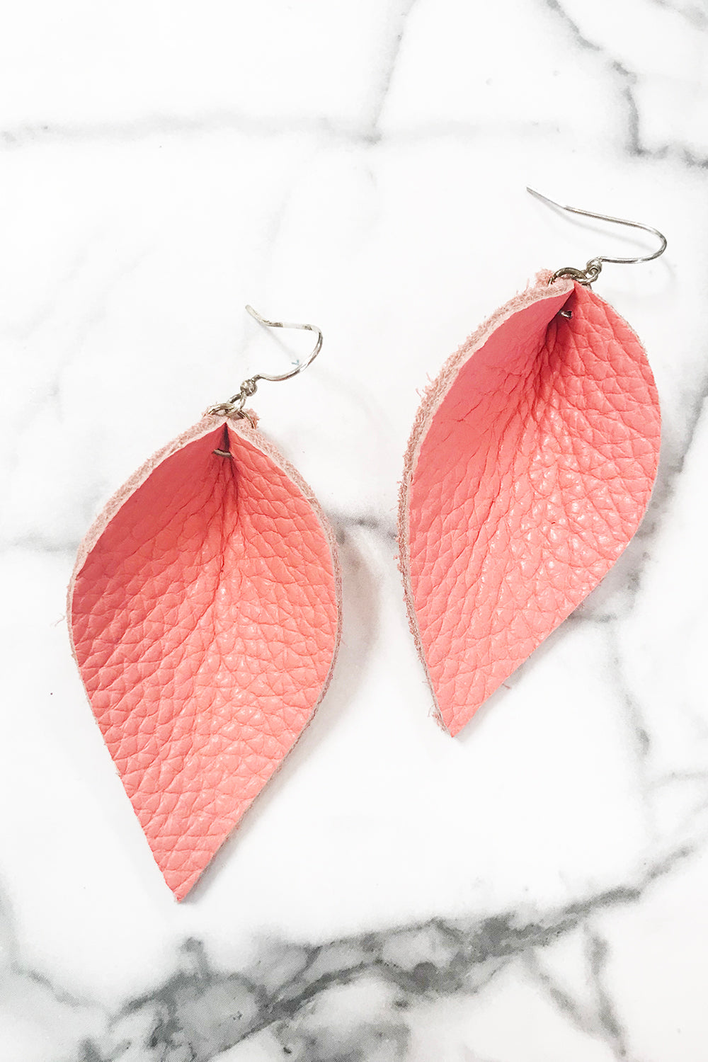 Leather Leaf Earring - Coral