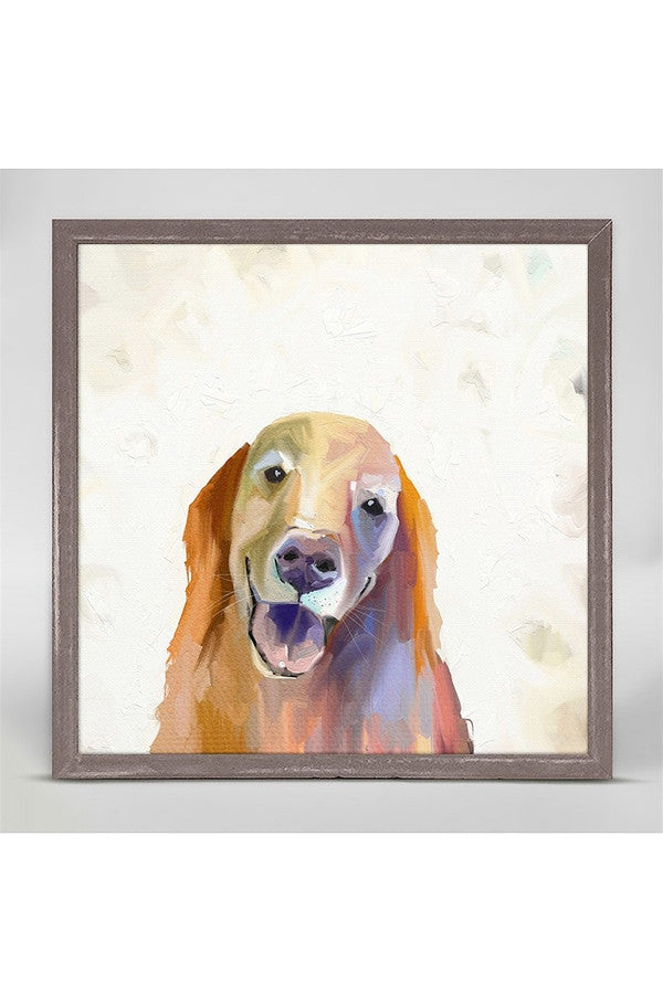 Rustic Mini Framed Canvas - Golden Retriever