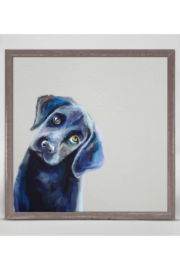 Rustic Mini Framed Canvas - Curious Black Lab