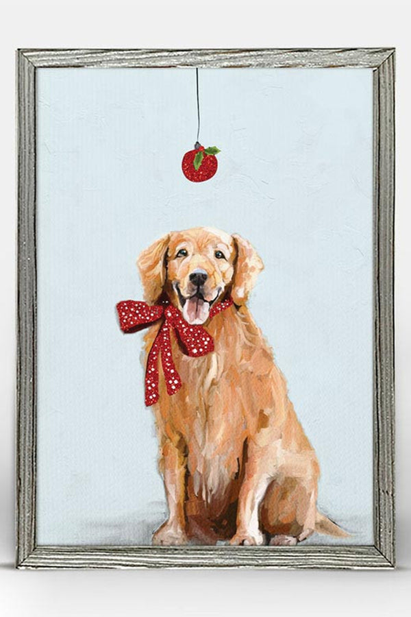 Rustic Mini Framed Canvas - Festive Golden Retriever