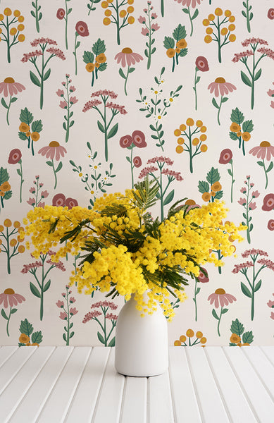 Botanic removable wallpaper - Off-white (English Afternoon collection)