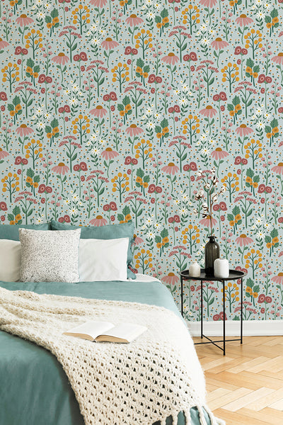 English garden removable wallpaper - blue (English Afternoon collection)