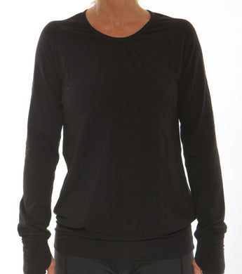 black performance long sleeve v-neck
