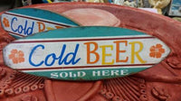 COLD BEER SOLD HERE Wooden Surfboard Wall Hang Sign Mancave Gift - the-bowerbirds-nest-of-treasures