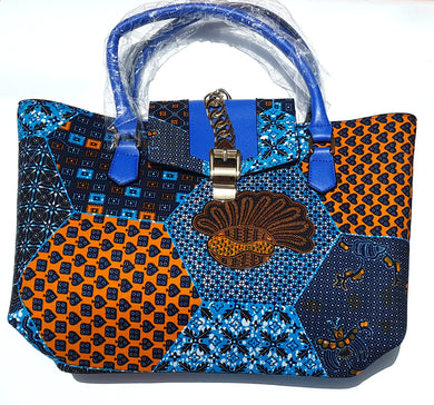 Blue Denim Style Fabric and Bag Combo