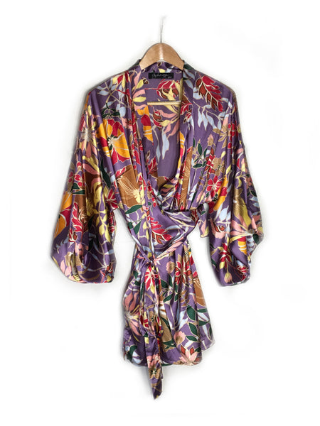 breast cancer clothing_purple flower_robe