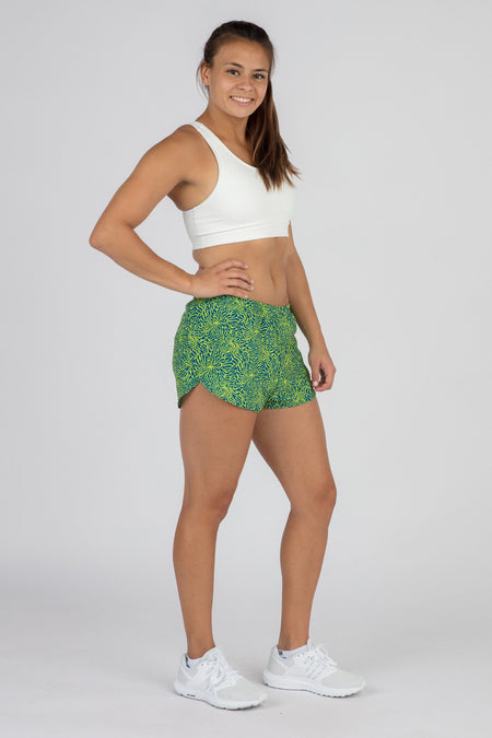 WOMENS PRINTED ULTRA STRIDER RUNNING SHORTS- MELODY