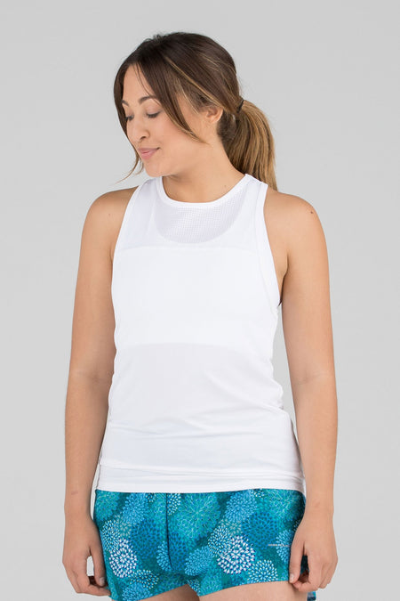 WOMEN'S VERSATEX SUNSEEKER RUNNING SINGLET- WHITE