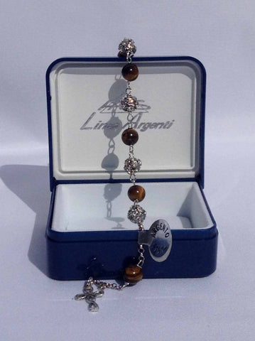 Tiger Eye, Silver and Swarovski Rosary Bracelet