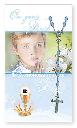 Communion Card and Rosary Set