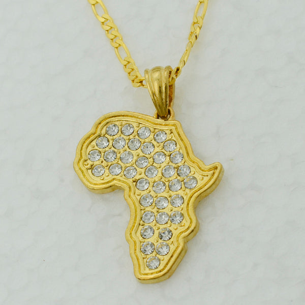 Africa Map Pendant Necklace Women/Men Gold Color With Rhinestone - African Style Jewelry