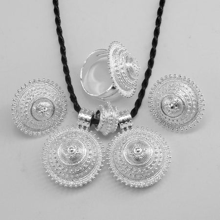 Ethiopian Bright Silver Color set - African Style Jewelry