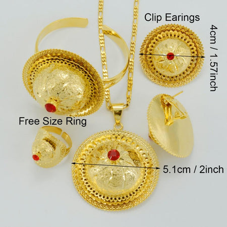 Ethiopian Wedding Jewelry sets. Gold Color. - African Style Jewelry