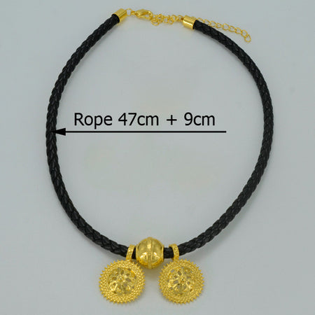 Ethiopian Pendant Black Rope Necklaces Silver/Gold Color - African Style Jewelry