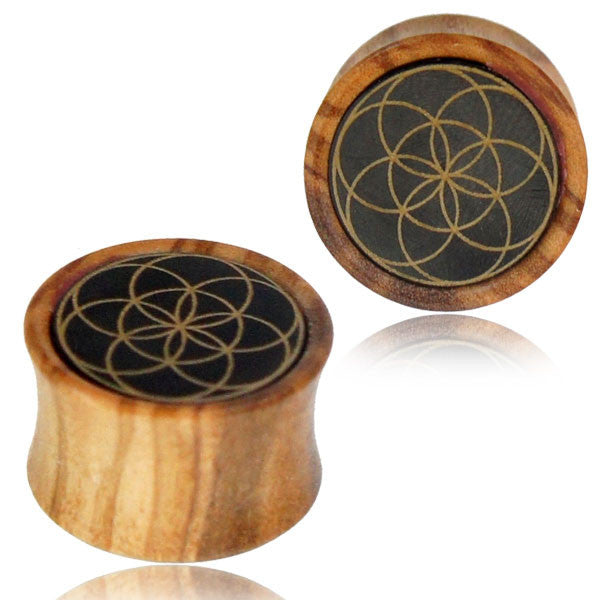 Seed of Life Wood Ear Tunnels - Ekeko Crafts