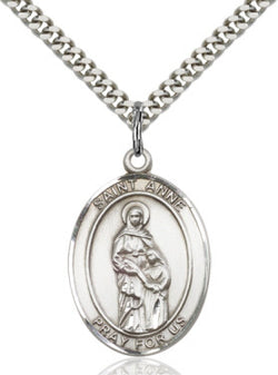 St. Anne  Sterling Silver Oval Pendant- FN7374SS/24S