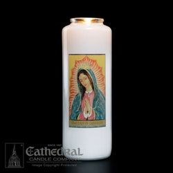 Patron Saint Glass 6 Day Candles - Our Lady of Guadalupe - GG2103