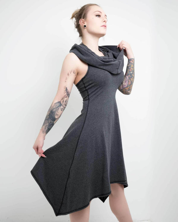 womens dress with built in hood and cowl